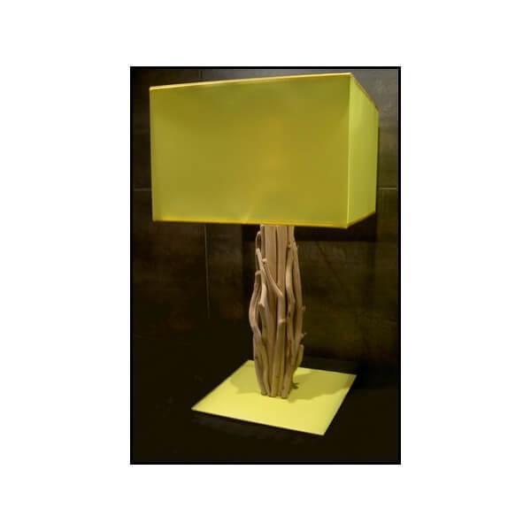 Lampe bois flott carre luminaires design tendance co nature en vente sur - Lampe a poser bois flotte ...