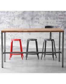 table de bar arri mange debout en bois et acier industriel au design sobre pour l 39 int rieur. Black Bedroom Furniture Sets. Home Design Ideas