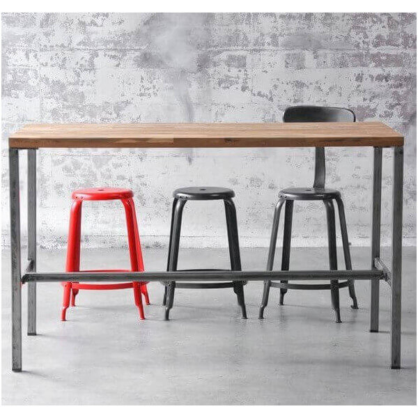 Arri bar table wood and steel for restaurent for Table rectangulaire scandinave