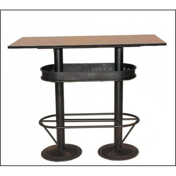 Industrial high table standing cheap eats solid bistro - Table haute industrielle bois ...