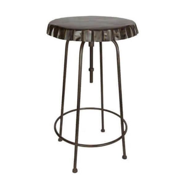 Table haute r glable capsule vintage et retro en acier for Table exterieur haute