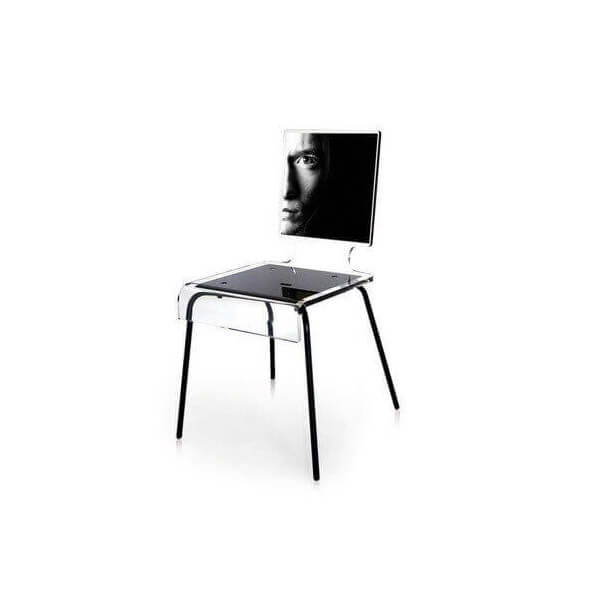 Acrila graph chair acrylic transparent high quality printed for Pietement table metal
