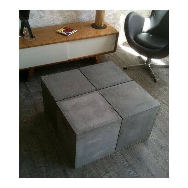 Mobilier beton table basse repas beton banc console for Table exterieur modulable