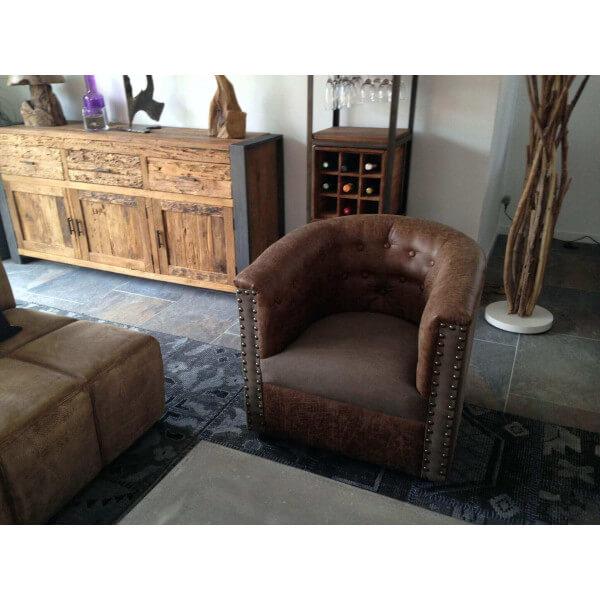 fauteuil club lounge simili cuir. Black Bedroom Furniture Sets. Home Design Ideas