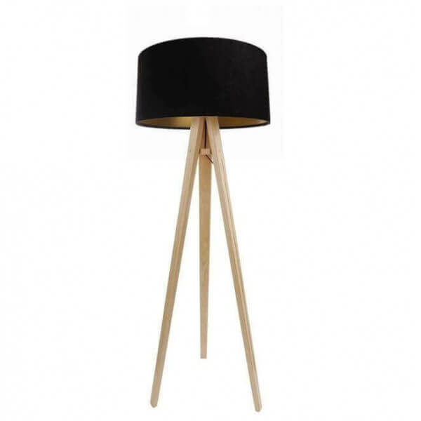 Design Tripod Floor Lamp Wood Feets Black And Gold Shade