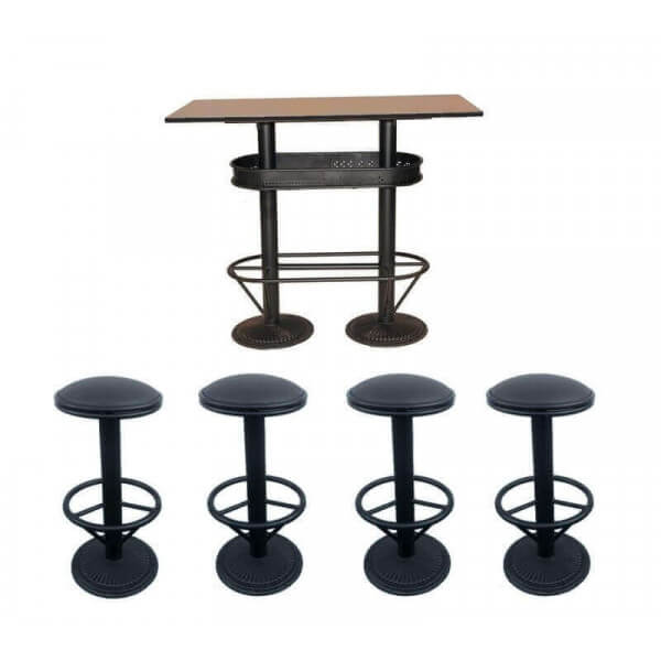 ensemble table haute industriel bistro et 4 tabourets