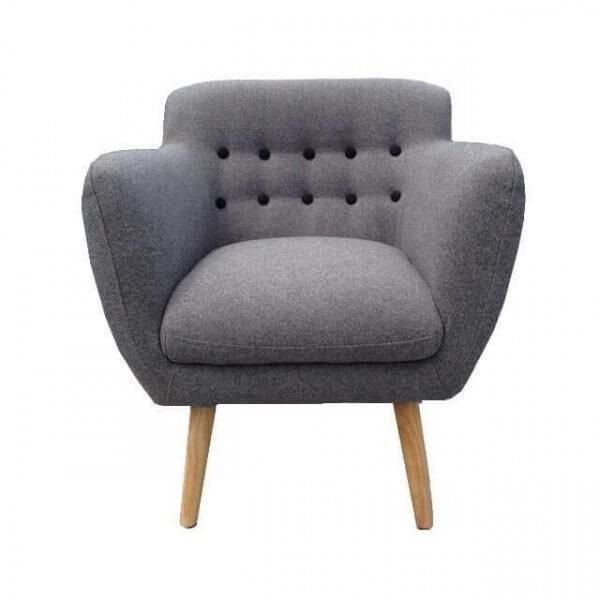 fauteuil gris retro scandinave. Black Bedroom Furniture Sets. Home Design Ideas