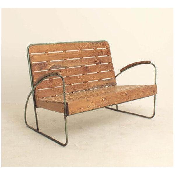 Banc vintage bois et metal 70
