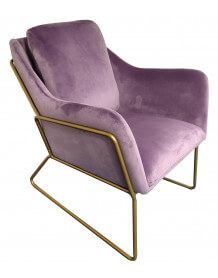 Purple velvet armchair Golden