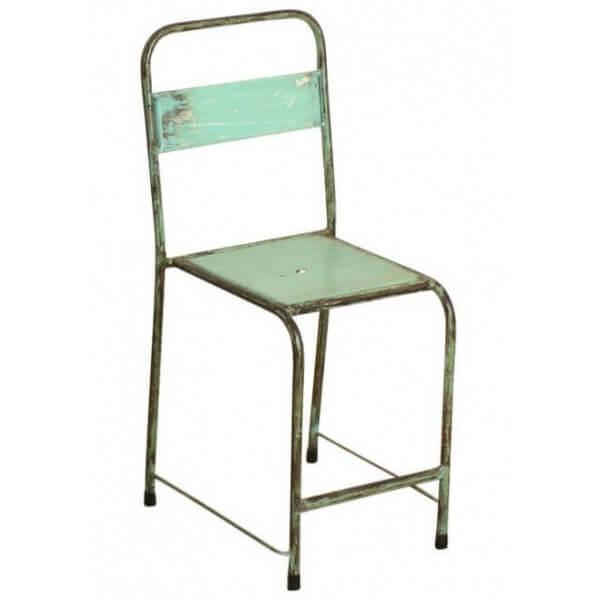Chaise en metal vintage menthe
