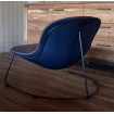 Contemporary lounge chair in Blue leather aspect
