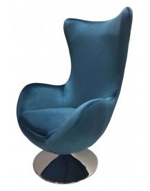 Blue armchair Suede