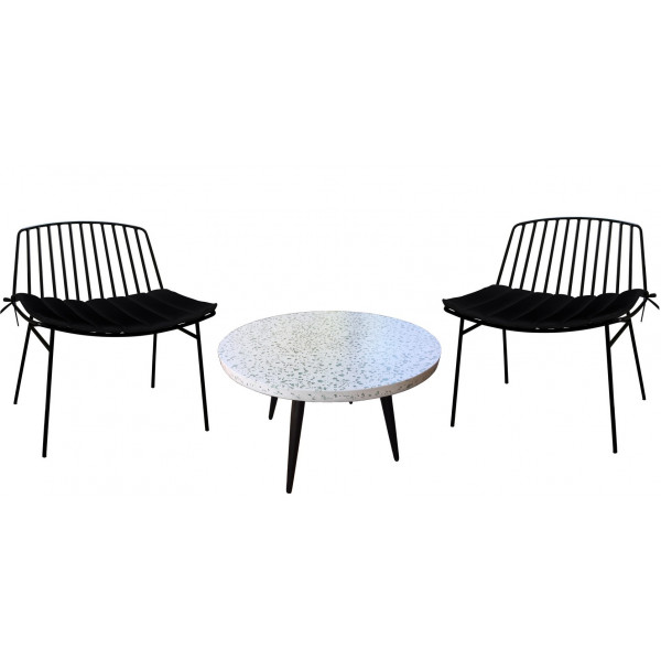 Terrazzo set with 2 Lounge chairs