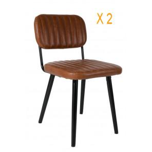 JEKA - 2 Comfortable brown chairs