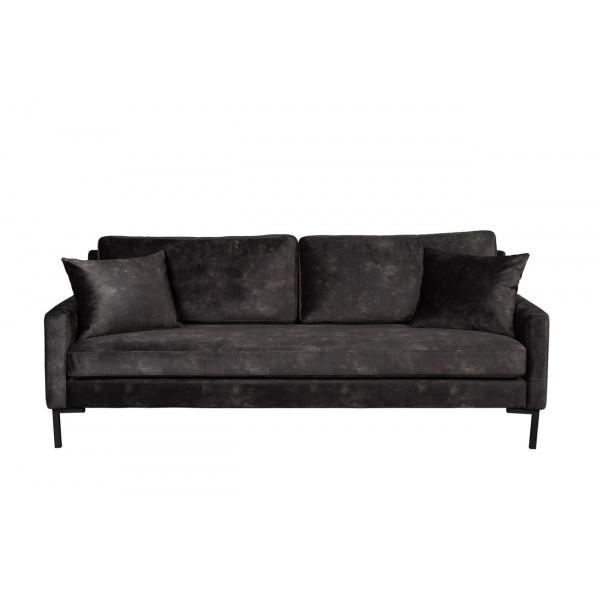 HOUDA - 3 seat dark grey sofa
