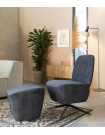 Dusk - Dark grey Lounge chair and footstool
