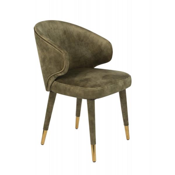 Moss green velvet Dining chair Lunar
