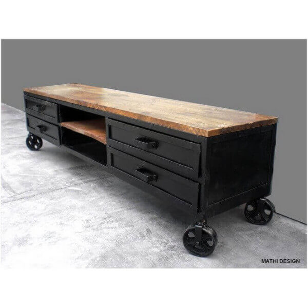 meuble tv industriel sur roues. Black Bedroom Furniture Sets. Home Design Ideas