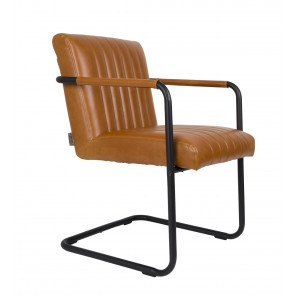 STITCHED - Retro armchair in brown imitation leather