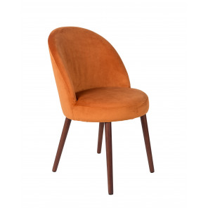 BARBARA - Orange Velvet dining chair