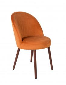BARBARA - Orange Velvet dining chair