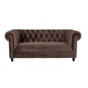 CHESTERfield - Canapé 3 places en velour marron