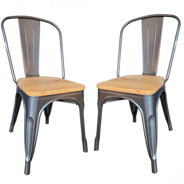 Lot 2 chaises bois clair