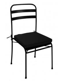 Chaise en métal noiravec coussin