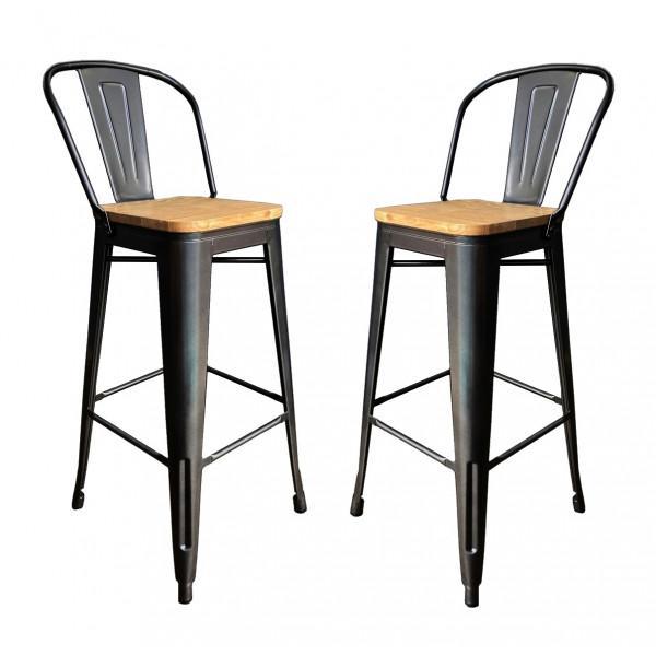 2 Chaises de bar en acier gris et bois clair