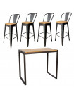NEVADA - Heigh dining set 120 cm steel/solid clear wood