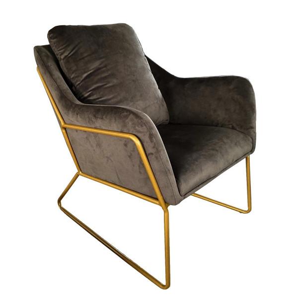 GOLDEN - Cozy armchair in grey velvet and gold metal