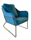 GOLDEN - Cozy blue velvet and gold metal armchair