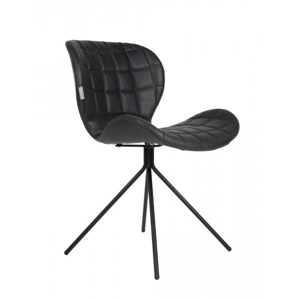 OMG - Chaise design en aspect cuir noir