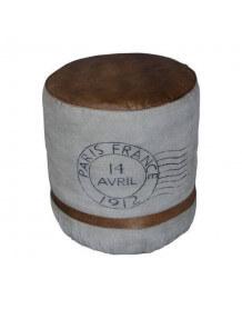 Pouf cuir vintage France