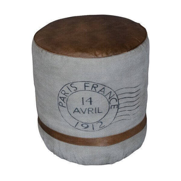 Pouf confortable en cuir vieillit vintage france original pour decoration industrielle for Pouf cuir vieilli