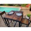Table haute bois et acier