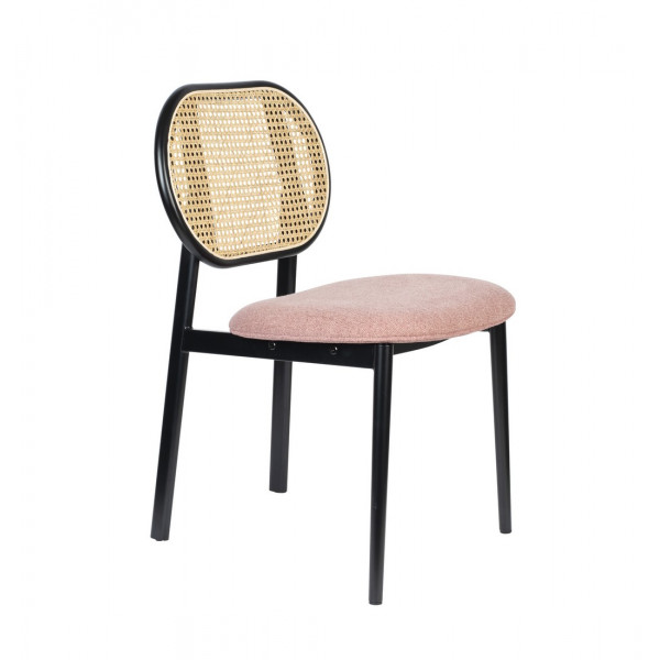 SPIKE - Cane chair and pink fabric seat