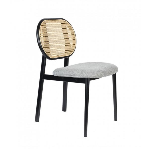SPIKE - Chaise dossier en cannage et assise en tissu gris