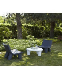 Salon de jardin Low Lita Slide gris-blanc