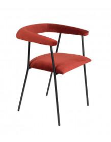 HAILY - Chaise de salle à manger en velours rouge