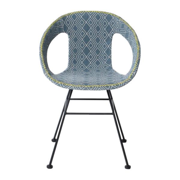 Chaise Maya tissu bleu