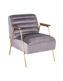 DALLAS - Grey velvet Lounge chair in retro style