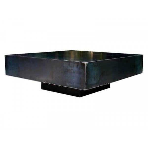 Table basse salon carr e acier brut for Table exterieur acier