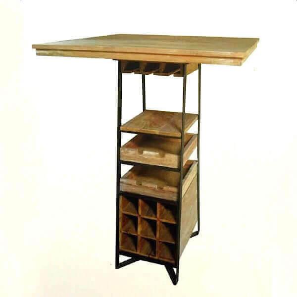 Table haute bois avec rangement for Table de cuisine rangement