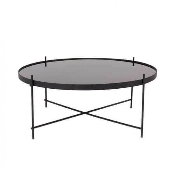Table basse noire plateau amovible en miroir noir table for 3 dimensions salon