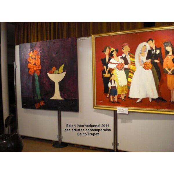 grand tableau chambre violine pierre gimenez peinture contemporaine sur toile sign e par l 39 artiste. Black Bedroom Furniture Sets. Home Design Ideas