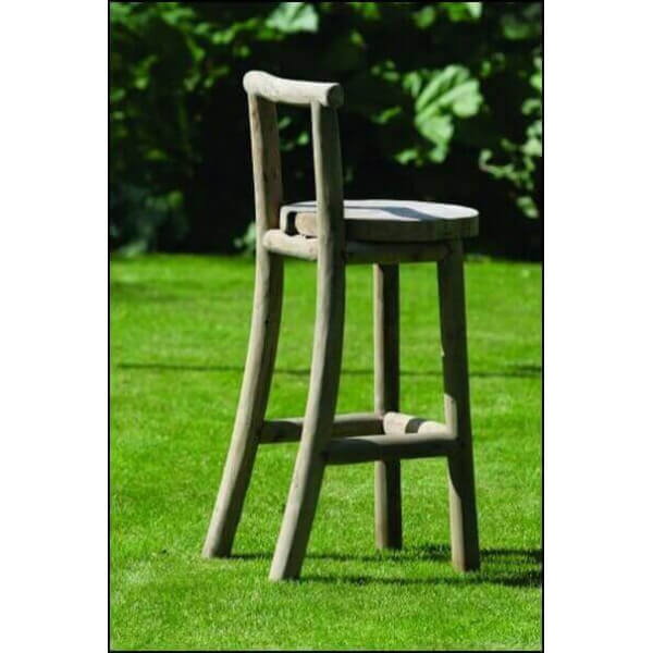 tabouret de bar nature chaise haute en bois mobilier en teck recycl. Black Bedroom Furniture Sets. Home Design Ideas