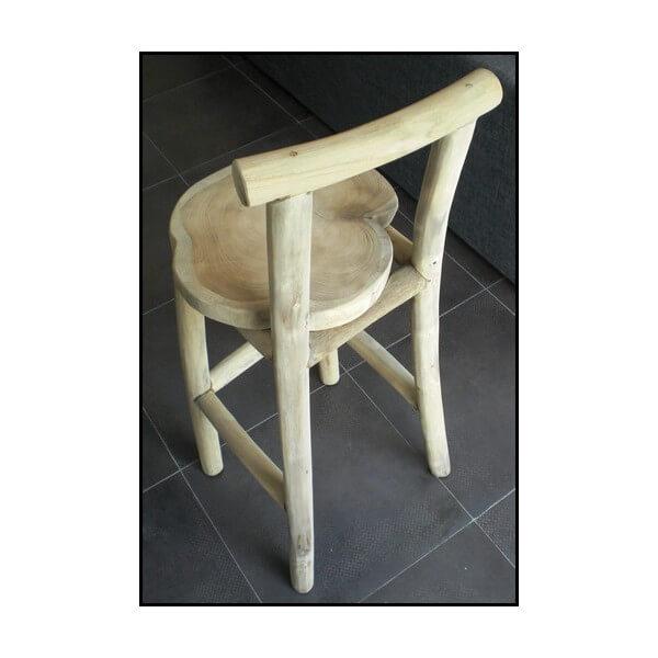 Tabouret de bar nature chaise haute en bois mobilier en teck recycl - Tabouret de bar en teck ...