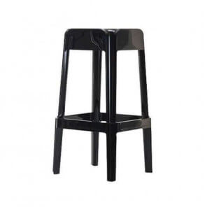 RUBIK - Elegant glossy black bar stool