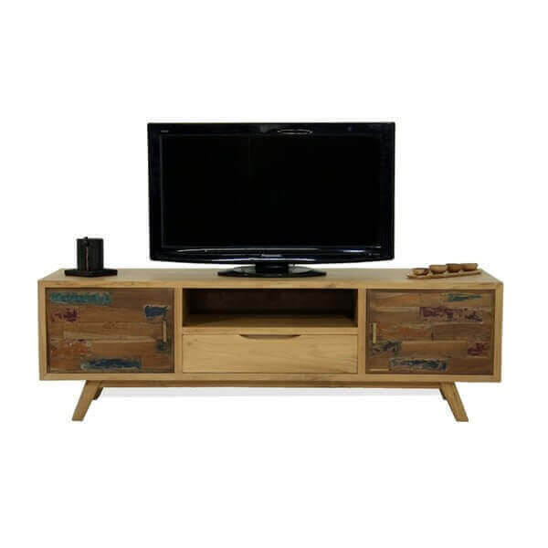meubles tv design acier bois mathi design. Black Bedroom Furniture Sets. Home Design Ideas